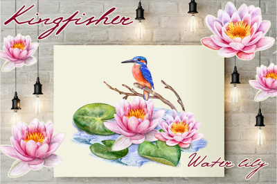 Kingfisher and Pink lotuses