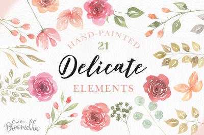 Delicate Watercolor Flower Elements Roses Leaves Wedding Florals PNG