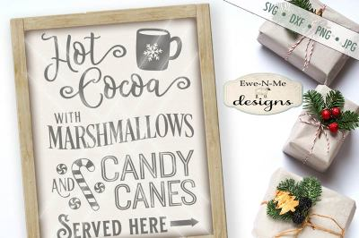 Hot Cocoa Marshmallow Candy Canes SVG