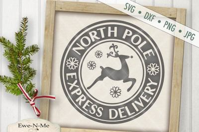 North Pole Express Delivery Reindeer SVG