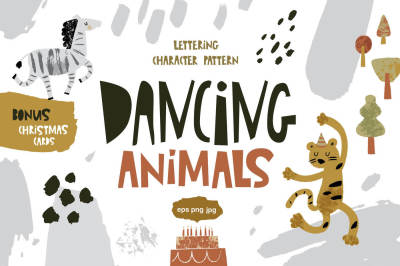 Dancing animals. Graphic set