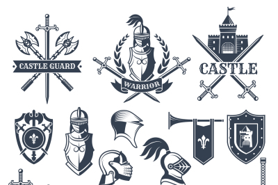 Monochrome pictures and badges of medieval knight theme. Illustrations