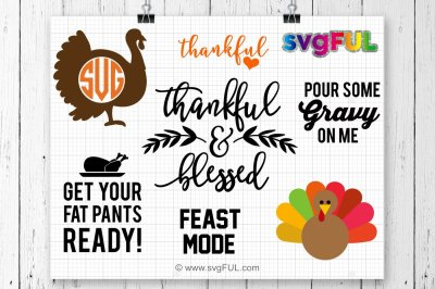 Thankful Svg, Turkey Svg, Thanksgiving Bundle, Pour Some Gravy On Me