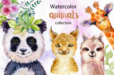 Animals. Watercolor collection.