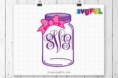 Mason Jar Svg, Bow Mason Jar Monogram Svg, Svg Files For Cricut, Svg