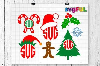 Elf Hat Monogram, Christmas Svg, Gingerbread Man, Christmas Tree