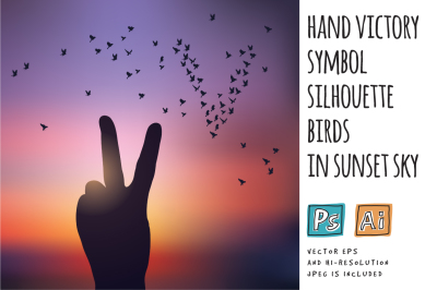 Hand victory symbol silhouette birds in sunset sky