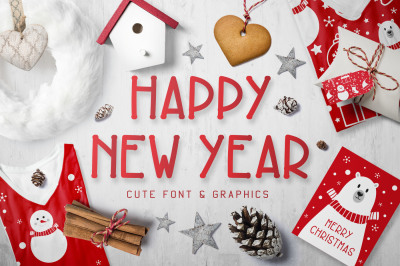 Happy New Year Font and Graphics