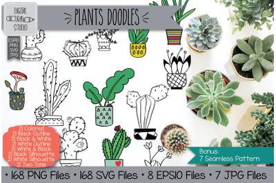 168 Hand Drawn Potted Plants & Cactus | House Plants Clip Art
