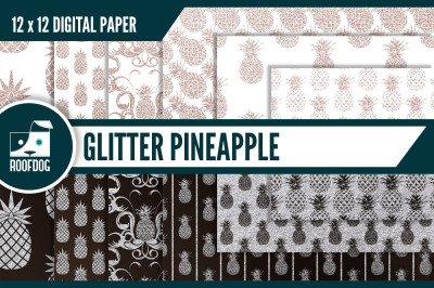 Glitter pineapple digital paper