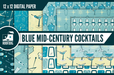 Blue mid century cocktail digital paper