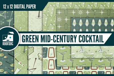 Green mid-century cocktail digital paper
