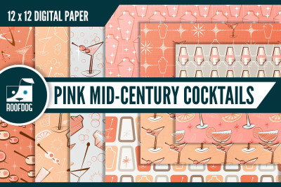 Pink mid century cocktail digital paper