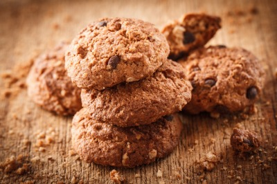 Chocolate cookies closeup in rustic style