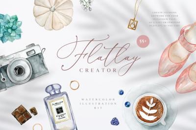 Flatlay Creator. Watercolor kit