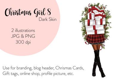 Watercolor FashionIllustration -Christmas Girl 8 - Dark Skin