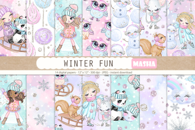 WINTER FUN digital papers