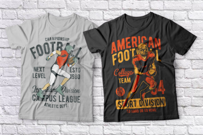 American football t-shirts set
