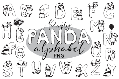 Party panda Cute animals alphabet PNG