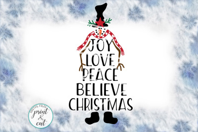 Joy Love Peace Believe Christmas Snowman Vintage svg pdf dxf
