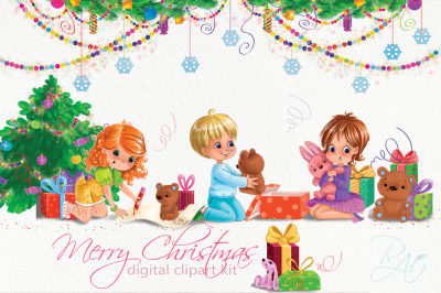 45 Christmas cliparts set with funny kids, gifts, teddy bears
