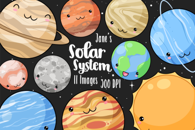Kawaii Planets Clipart