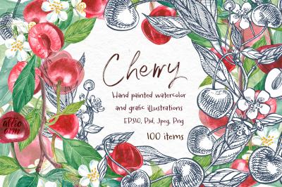 Cherry Graphic & Watercolor clipart
