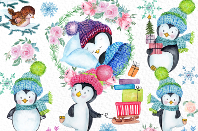 Cute Watercolour Penguins clipart