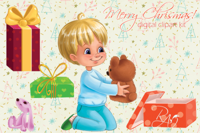 Cute boy with gifts and teddy bear Christmas clipart kit
