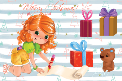 Cute girl with gifts and teddy bear Christmas clipart kit
