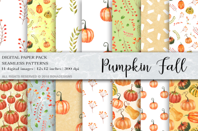 Watercolor Pumpkin Digital Paper