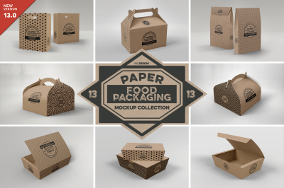 Vol 13: Paper Food Box Packaging Mockups