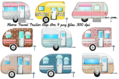 Retro Travel Trailers Clip Art