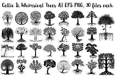 Celtic & Whimsical Trees w/Roots AI EPS Vector & PNG