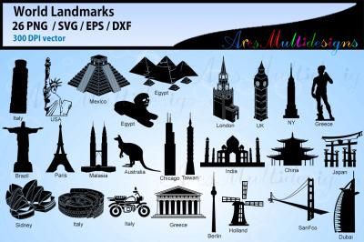 World Lankmarks silhouette svg / world landmark vector cut files, Eps