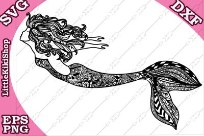 Zentangle Mermaid Svg,MANDALA MERMAID SVG, Mermaid cut file