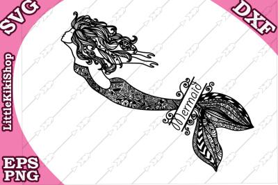 Zentangle Mermaid Monogram Svg, MANDALA MERMAID SVG, Mermaid cut file