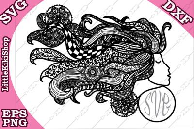 Zentangle Girl Monogram Svg, MANDALA GIRL SVG, Fair Girl cut file