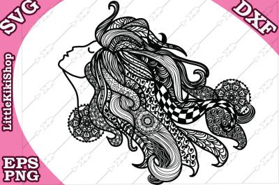Zentangle Girl Svg, MANDALA GIRL SVG, Fair Girl cut fil