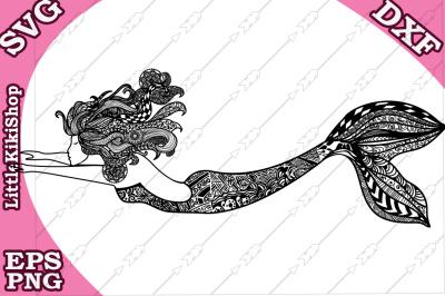Zentangle Mermaid Svg, MANDALA MERMAID SVG, Mermaid cut file