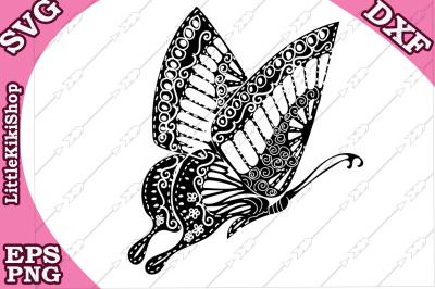 Zentangle Butterfly Svg, MANDALA BUTTERFLY, Butterfly cut file