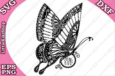 Zentangle Butterfly Monogram Svg, MANDALA BUTTERFLY, Butterfly cut fil