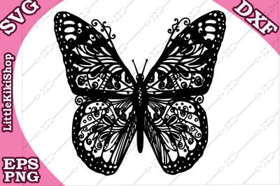 Zentangle Butterfly Svg: