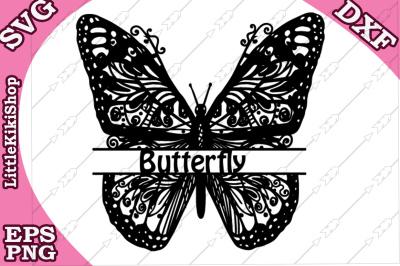 Zentangle Butterfly Monogram Svg, MANDALA BUTTERFLY, Butterfly Svg