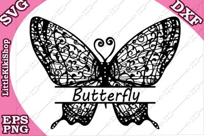Zentangle Butterfly Monogram Svg, MANDALA BUTTERFLY