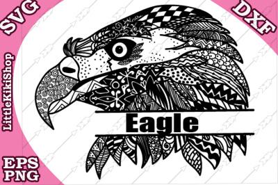 Zentangle Monogram Eagle Svg, MANDALA EAGLE SVG