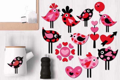 Valentine Polka Dots Birds