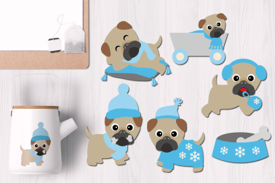Blue January Winter Pugs