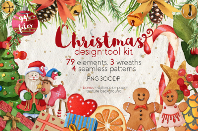 Christmas and New Year Design Tool Kit (clipart)