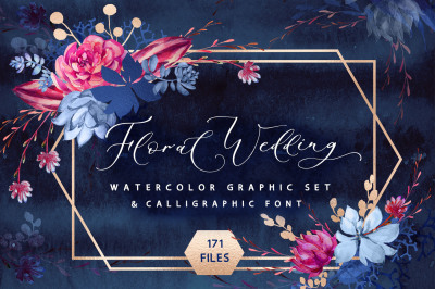 Floral wedding graphic & font set